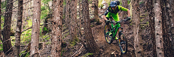Dylan Wolsky shredding Bush Doctor trail, Whistler